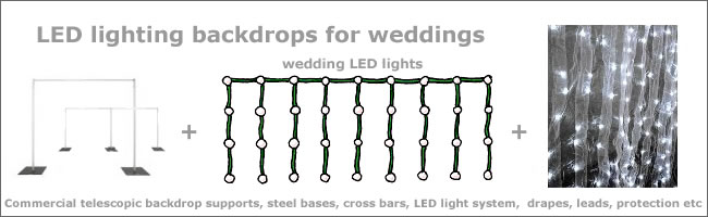 LED fairylight curtain backdrop hire for weddings and events